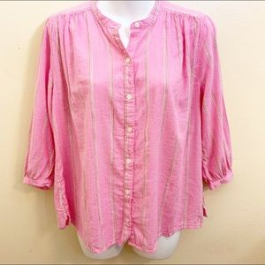 Old Navy Button Down Blouse Stripes Pink XS